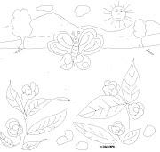 . muy simpatico y tierno : una mariposa,muy cerca de unas flores con unas . dibujo mariposas sol paisajes arboles flores montaã'as