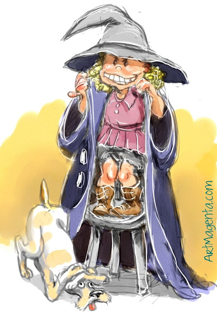 Trick-or-treating is a cartoon by illustrator Artmagenta