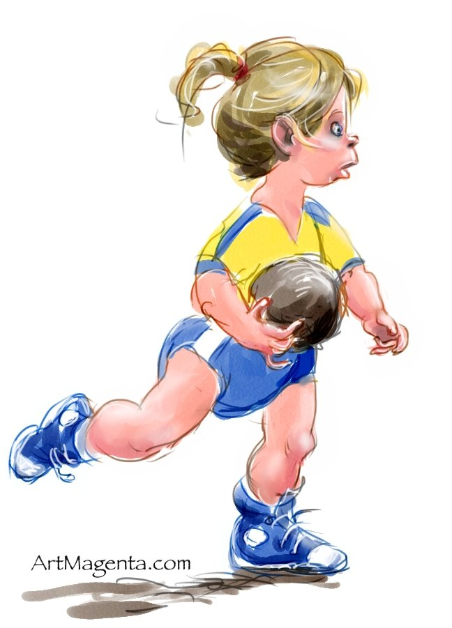 Girl playing handball is a cartoon by Artmagenta