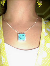 Scrabble tile black letter on blue zebra necklace