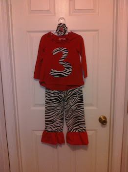 Zebra Ruffle Pants with Matching Appliqued Shirt