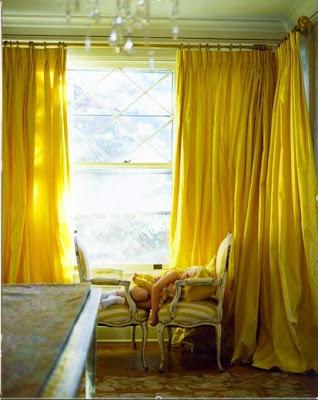 its raining yellow curtains