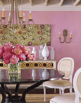 Pink dining room, dining room, interior design, home interior