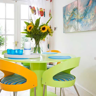 Lemon and lime dining room, interior design