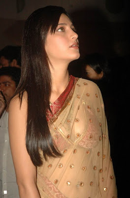 Shruti Hassan Hot wallpapers in transparent Saree Photoshoot images