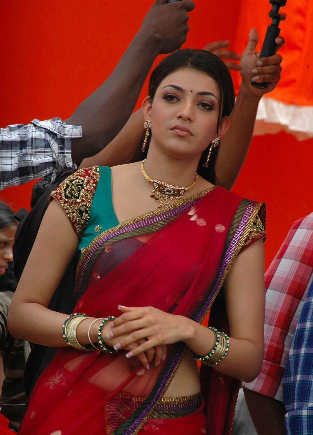 kajal agarwal hot wallpapers in transparent saree | glamorous