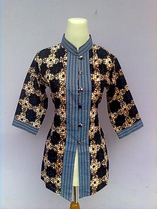 Baju Batik Atasan Kerja Kombinasi