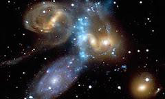 La imagen del Quinteto de Stephan fue captada por el observatorio de rayos X Chandra, en EUA