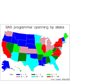 How many SAS programmer opens by states?