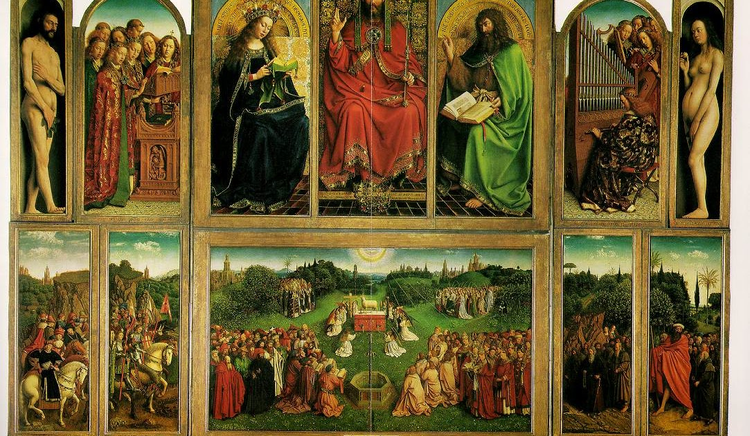 jan van eycks masterpiece A painstaking restoration of the mystic lamb , a 15th-century flemish masterpiece by the van eyck brothers, was unveiled on tuesday, revealing a muc.