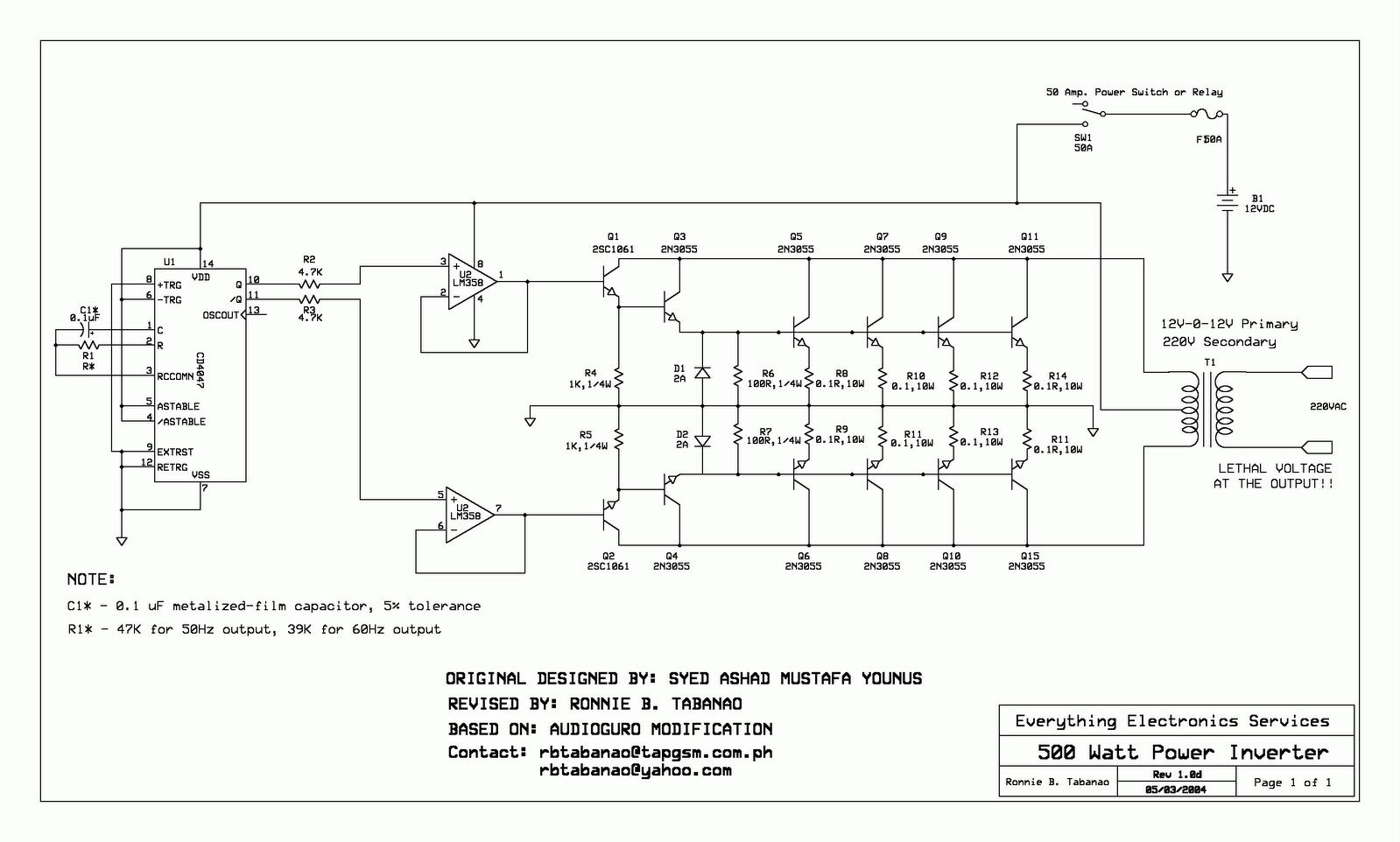 RO ELECTRONICA: SCHEMA INVERTOR 500W CU 2N3055