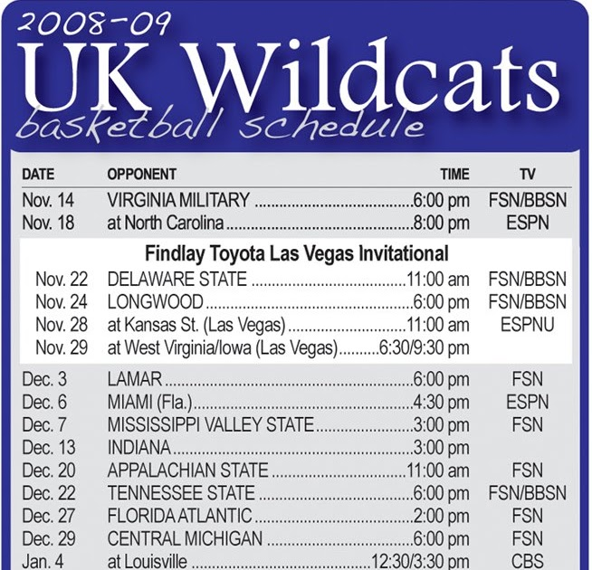 It is an image of Bewitching Kentucky Basketball Schedule Printable