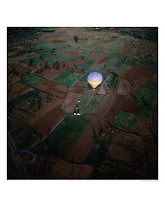 Hot Air balloon in dark sky