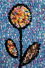 Hooked flower rug