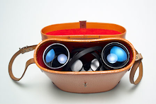 Binoculars in a leather case