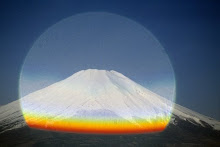 Mt.Fuji through a drop of rain on a spiderweb