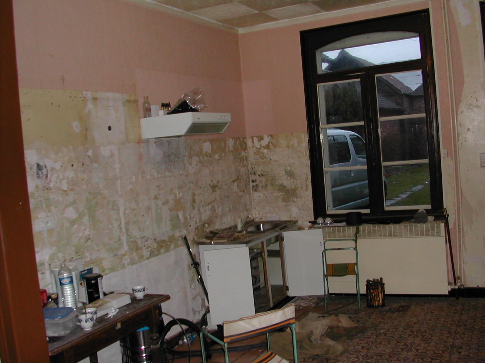 r novation d 39 une cuisine sol isolation cloisonnement menuiserie installation lectrique. Black Bedroom Furniture Sets. Home Design Ideas