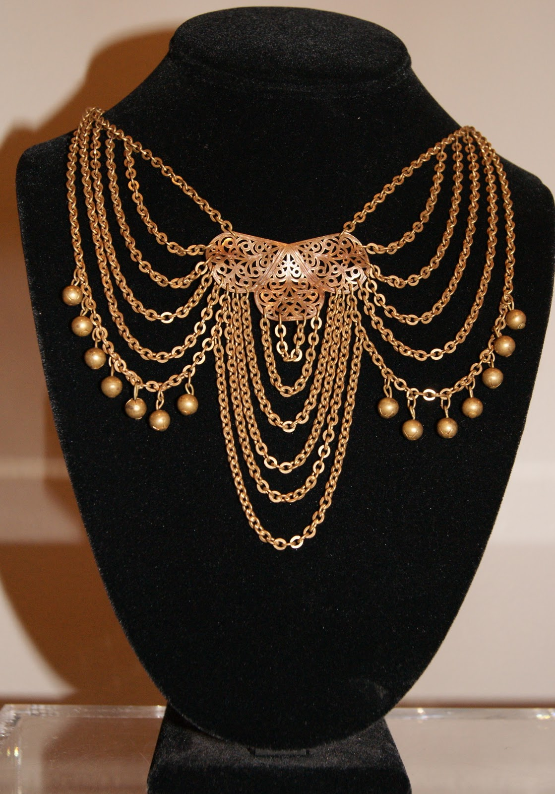 Early 1900's brass chain statement necklace.