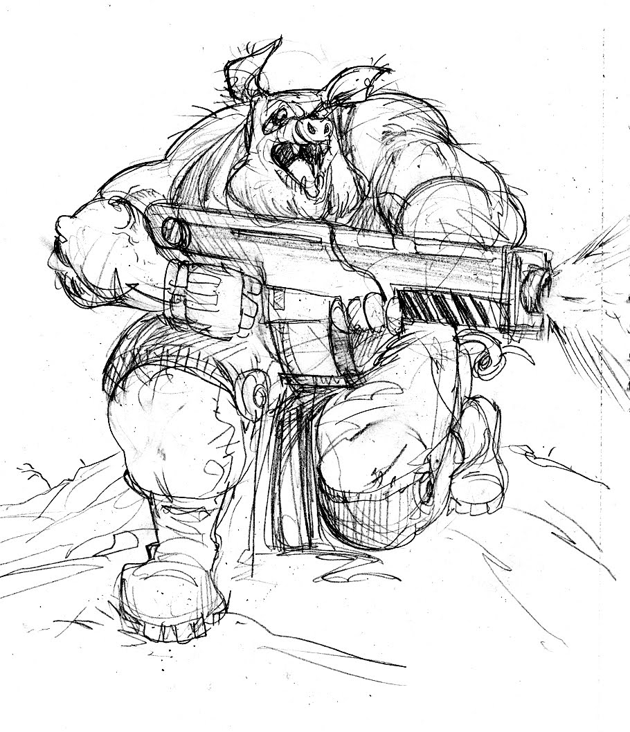 War hogs Wild Boar Sketch