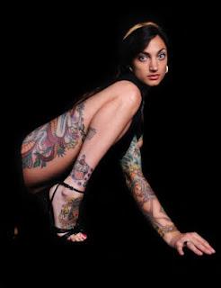 sexy girl tattoo in greyscale