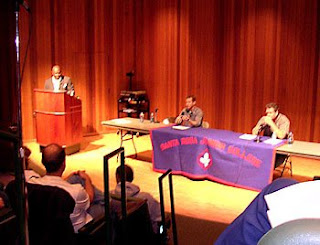 Proposition 2 Debate between HSUS's Paul Shapiro (left) and Petaluma egg farmer Steve Mahrt (right) at SRJC, 21 Oct 08