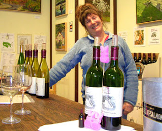 Karen at Joseph Swan tasting room made Ms. Peep and dog-ma's day!