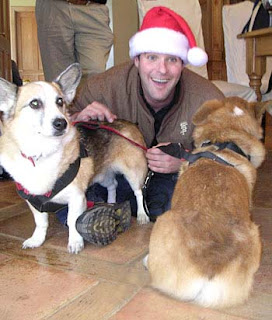 Tilin and Jack Corgi with Santa
