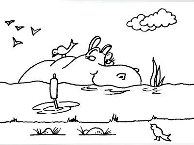 Dibujos gratis para imprimir y colorear de hipopótamos 圖片, 上色 ...