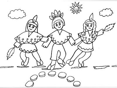 Dibujos gratis para imprimir y colorear de indios 圖片, 上色