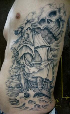 pirate ship tattoo. Pirate Ship Rib Tattoo Design