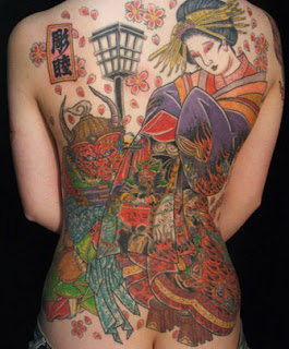 Japanese Geisha Tattoos On The Women Back Piece Tattoo Picture 8