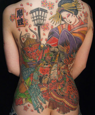japanese art geisha. Japanese Geisha Tattoo On Back