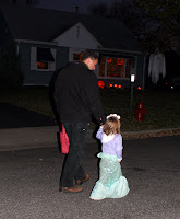 Sophia Trick-or-Treating as a Mermaid