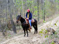 Dani on her Appendix Quarter Horse, Maggie Along the Trail in Pillager