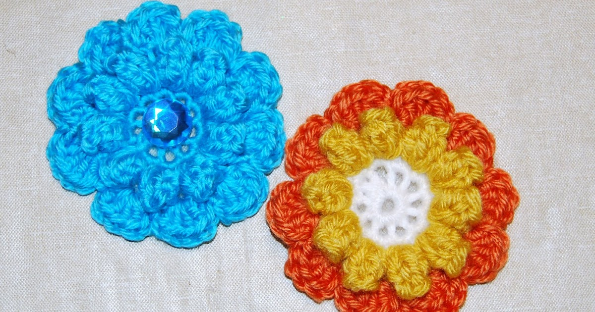 Crochet Popcorn Flower Free Pattern : The Laughing Willow: 10 petal popcorn flower - free pattern!