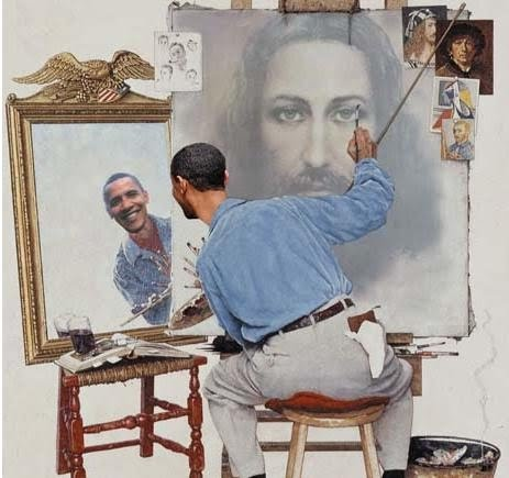Obama paints himself as jesus
