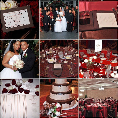 Wedding Design Deep Red Chocolate Brown Heart Theme