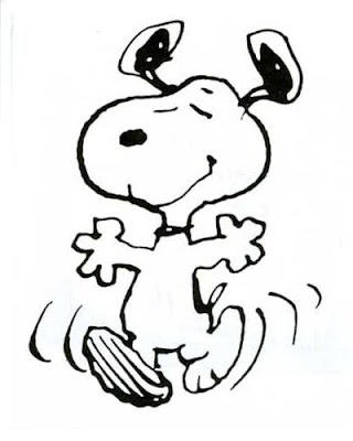 Snoopy dancing around