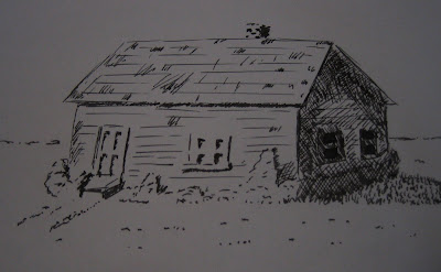 Ink drawing house