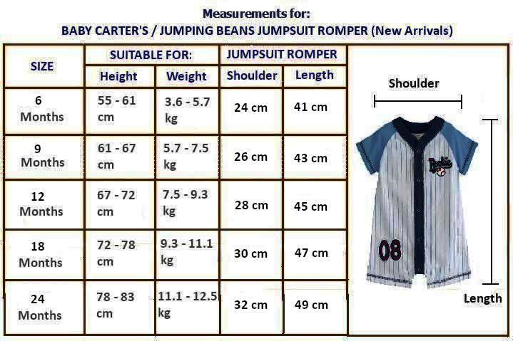 Jumping Beans Clothing Size Chart