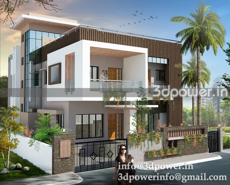 3d interior, cut section, photomontage india: | 3D Bungalow