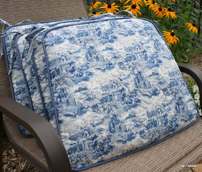 Quilted Blue Toile Chair Pads