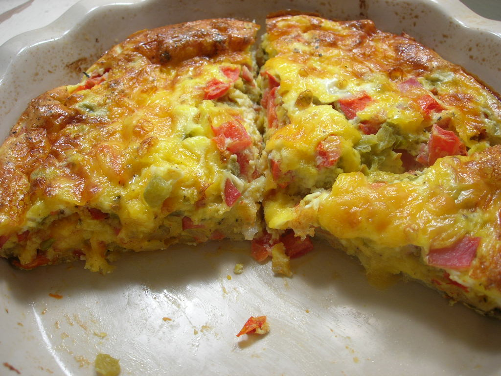 ... Academic: Green Chile and Canadian Bacon Quiche with Hash Brown Crust