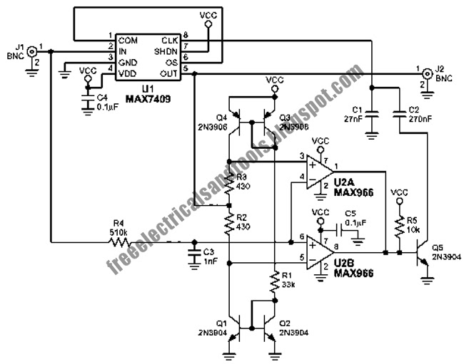 free schematic diagram  low pass filter circuit with