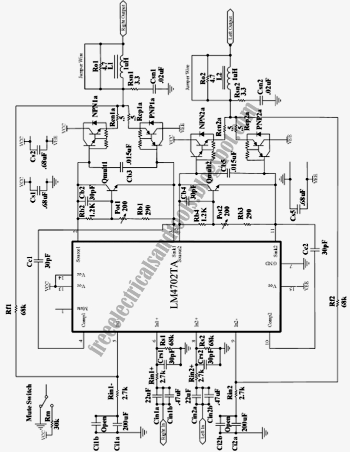free schematic diagram  high fidelity stereo power