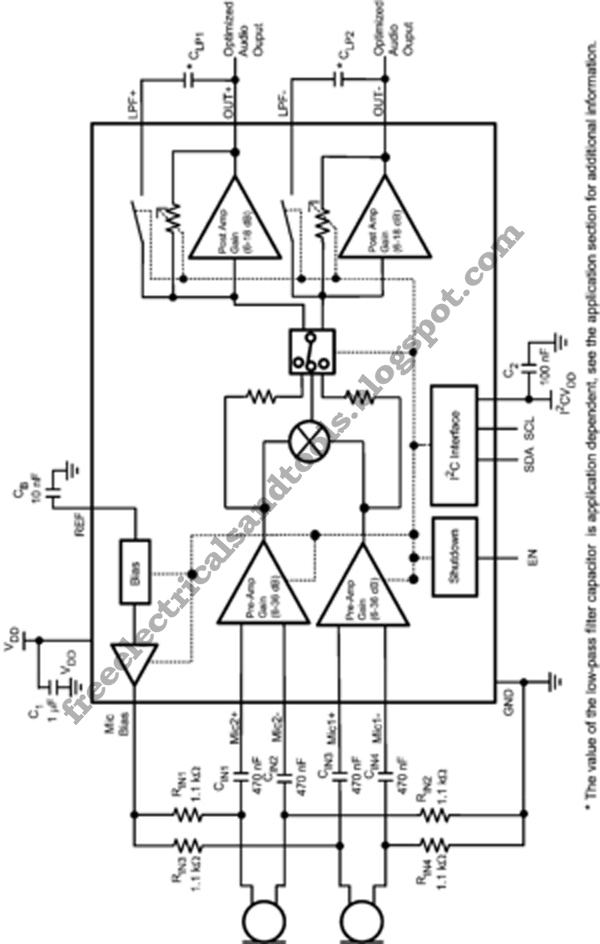 free schematic diagram  dual input far field noise suppression microphone amplifier circuit