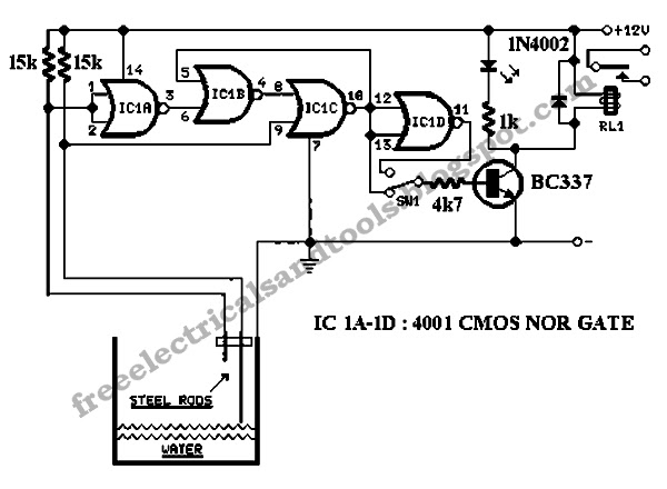 free schematic diagram  water level controller circuit