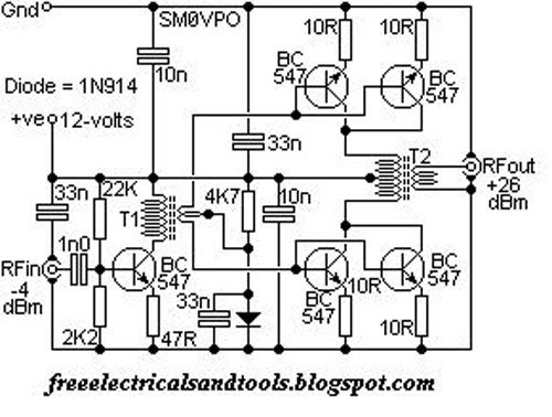 free schematic diagram  qrp hf linear amplifier schematic