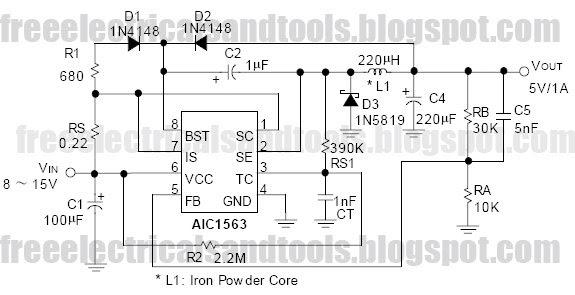 Free Schematic Diagram  Aic1563 For 5v  1a Step