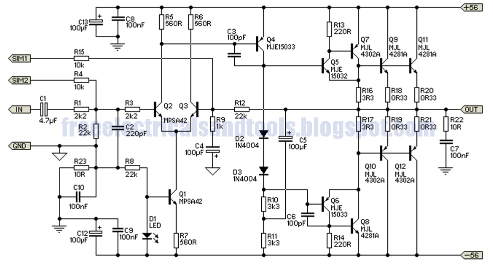 free schematic diagram  300w subwoofer power amplifier
